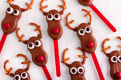 Snowmen and Reindeer Cake Pops Stock Images