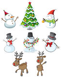 Snowmen, reindeers and a christmas tree Royalty Free Stock Photos