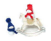 Snowmen and Rocking Horse, Christmas decoration Stock Image