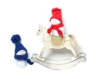Snowmen and Rocking Horse, Christmas decoration Stock Image