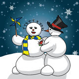 Snowmen romance Stock Photography