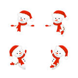 Snowmen in Santa hats holding blank paper Stock Photography