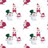 Snowmen and Santa pattern. Christmas seamless pattern with the image of Santa Claus and snowmen in cartoon style. Vector colorful background Royalty Free Stock Image
