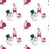 Snowmen and Santa pattern Royalty Free Stock Image