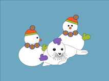 Snowmen and seal Stock Images