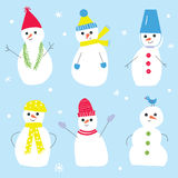 Snowmen set for the Christmas decorations. Funny style. Vector graphic illustration Royalty Free Stock Photos