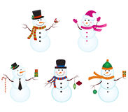 Snowmen. A set of five snowmen Stock Photos