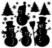 Snowmen silhouettes theme set 1 Stock Photography