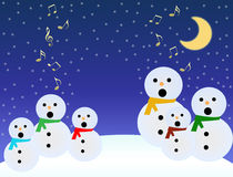 Snowmen sing. A choir of snowmen sing under a moon on blue sky with musical notes Royalty Free Stock Photos