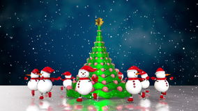 Snowmen skating round the christmas tree stock video footage