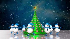 Snowmen skating round the christmas tree stock footage