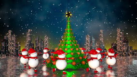 Snowmen skating round the christmas tree. At skyline background. Loop animation stock footage