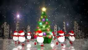 Snowmen skating round the christmas tree. At skyline background. Loop animation stock video