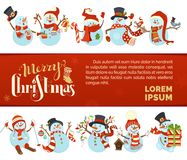 Vector Merry Christmas and Happy New Year background with cute snowmen. Stock Photos