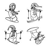 Snowmen skiing and snowboarding Christmas set isolated  illustration Stock Photography