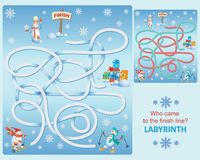 Snowmen on skis. Labyrinth. Who came to the finish line? Design of educational game. Snowmen in the style of cartoon characters Royalty Free Stock Photography