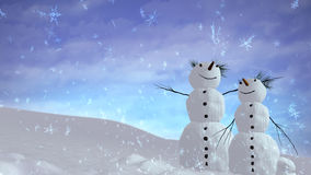 Snowmen sky Royalty Free Stock Photography