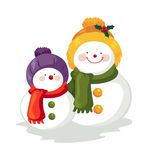 Snowmen. Snow Man and Snow Boy Stock Images