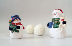 Snowmen and snowballs on white, christmas card Stock Image