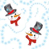 Snowmen and snowflakes Stock Images