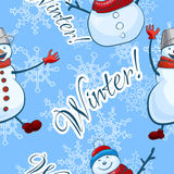 Snowmen and snowflakes, vector image seamless background Royalty Free Stock Photography