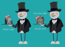 Snowmen in suits and top hats offering a new flat and country house just for you. New Year Offer. stock illustration