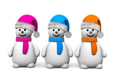 3 Snowmen Stock Photos
