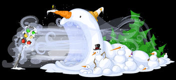 Snowmen Traffic Freeze. Cold snowy weather theme cartoon, vector, isolated Royalty Free Stock Photos