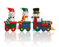 Snowmen on Train Royalty Free Stock Photography