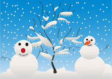 Snowmen and tree Stock Photos