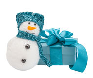 Snowmen, turquoise gift, bow Royalty Free Stock Photography