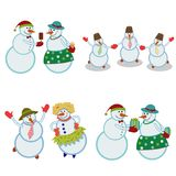 Merry happy snowmen stock photo