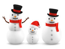 Snowmen, 3D illustration. Snowmen wearing silk hat and santa hat, 3D illustration royalty free illustration