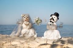 Snowmen wedding. Couple of snowmen wedding with cocktail Stock Photo