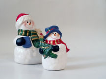 Snowmen on white card Royalty Free Stock Photo