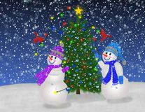 Snowmen and Winter Cardinals Royalty Free Stock Images