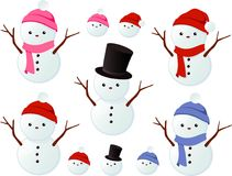 Snowmen and women Stock Photos
