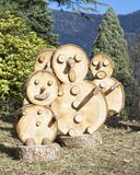 Snowmen. Wood wooden tree details winter handmade toys nature mountain landscape details Stock Photo