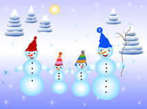 Snowmens family Royalty Free Stock Photo