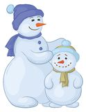 Snowmens mother and son. Cartoon, snowmens mother and son, isolated white background Royalty Free Stock Photography