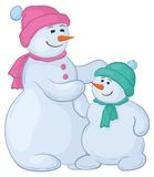 Snowmens mother and son Royalty Free Stock Images