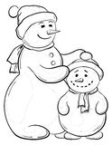 Snowmens mother and son, contours Royalty Free Stock Photos
