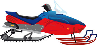 Snowmobile. Vectors illustration shows a red snowmobile vector illustration