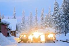 Snowmobile. Parking on snow in Kiruna Sweden Royalty Free Stock Photos