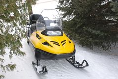 Snowmobile. On a snow trail Stock Image