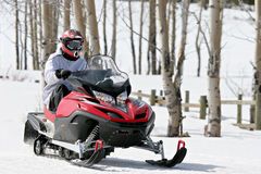 Snowmobile. Man on snowmobile in the bighorn mountains, wyoming Royalty Free Stock Image