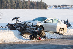 Snowmobile accident, skidoo overturn on snow royalty free stock images