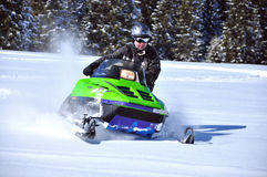 Snowmobile in action. At Sureanu ski resort, Romania Stock Images