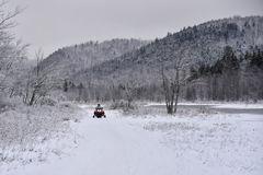 Snowmobile in the Adirondack Mountains Stock Photos