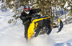 Snowmobile Adventure. In the winter landscape outdoor travel Royalty Free Stock Photography